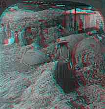 Anaglyph picture of sorting llama wool in Peru