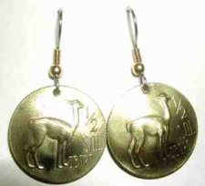 Peruvian coins made into earrings