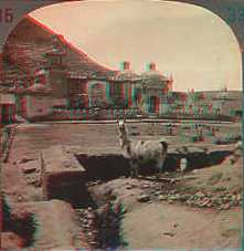 Stereoview picture of church and llama