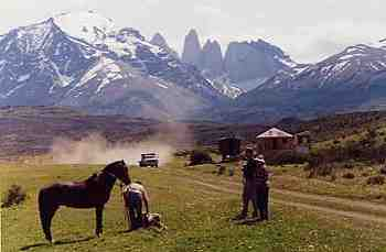 Sheep ranch with Torres del Paine mountains