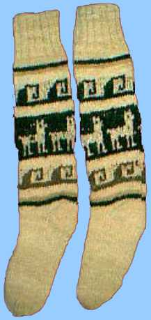 Wool socks with llama design